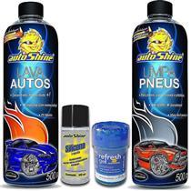 KitCar AutoShine - Cera Limpadora 200g + Lava Autos 500ml + Limpa Pneus 500ml + Silicone